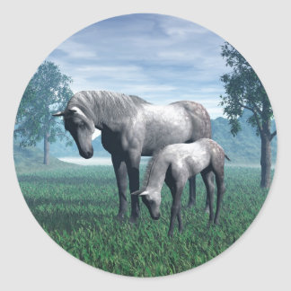 Mare and Foal Classic Round Sticker