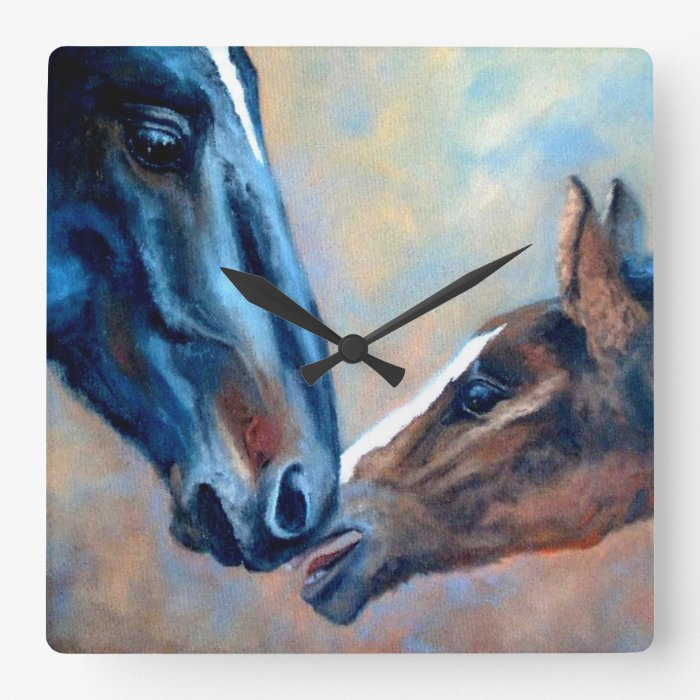 Mare and Foal Fine Art Wall Clock