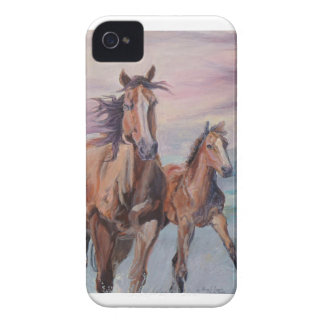 Mare and Foal gallop on the beach Blackberry Bold Case