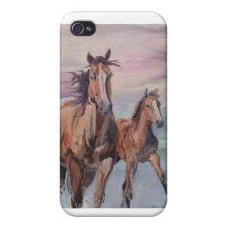 Mare and Foal gallop on the beach iPhone 4 Cover