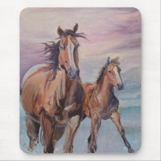 Mare and Foal gallop on the beach Mouse Pad