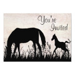 """Mare and Foal Grazing Horse Baby Shower Invitation 5"""" X 7"""" Invitation Card"""