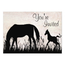 Mare and Foal Grazing Horse Baby Shower Invitation