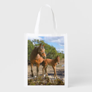 Mare and foal grocery bag