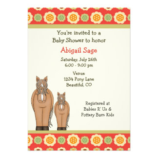 Mare and Foal Horse Baby Shower Invitation