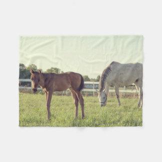 Mare and Foal Horses Fleece Blanket