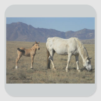 Mare and Foal (Horses) Square Sticker