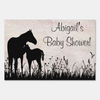 Mare and Foal in Field Horse Baby Shower Yard Sign
