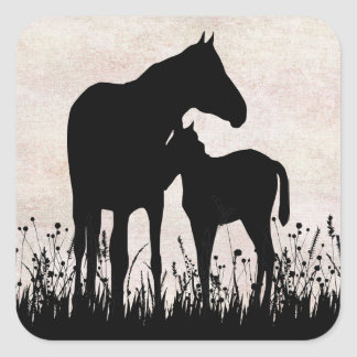 Mare and Foal in Field Horse Stickers