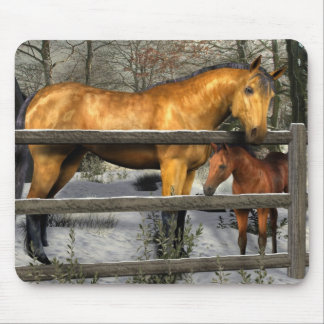 Mare and Foal in Winter Mousepad