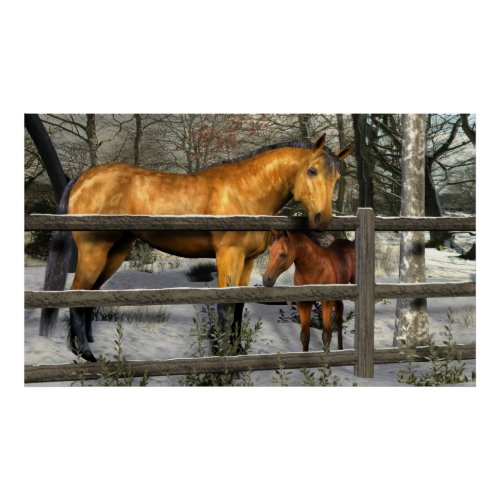 Mare and Foal in Winter Poster