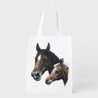 mare and foal reusable grocery bag