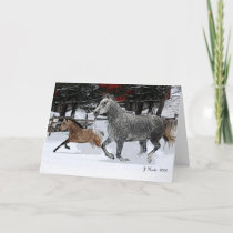 Mare and Foal running in snow Holiday Card