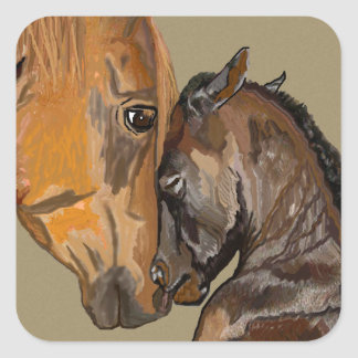 Mare and Foal Square Sticker
