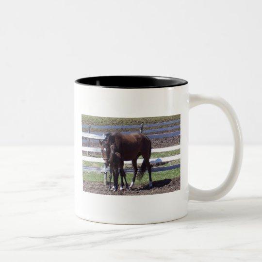 Mare and foal Two-Tone coffee mug
