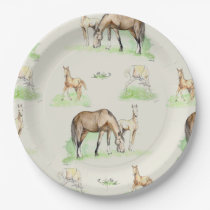 Mare and Horse Foal Pattern Paper Plate
