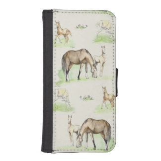 Mare and Horse Foal Pattern Wallet Phone Case For iPhone SE/5/5s