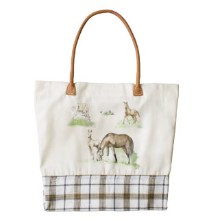 Mare and Horse Foal Pattern Zazzle HEART Tote Bag
