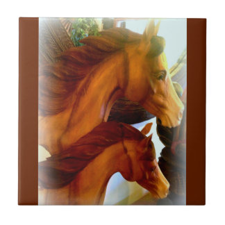 mare and pony ceramic photo tile