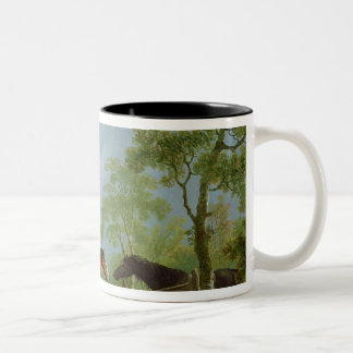 Mare and Stallion in a Landscape Two-Tone Coffee Mug