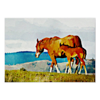 Mare with Foal on the Ridge Print