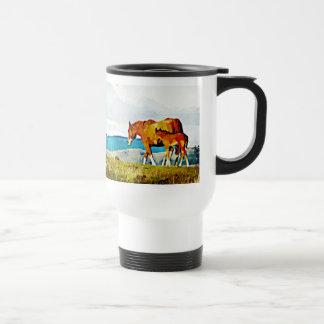 Mare with Foal on the Ridge Travel Mug