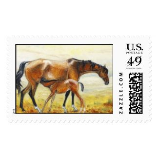 mare with foal postage stamp