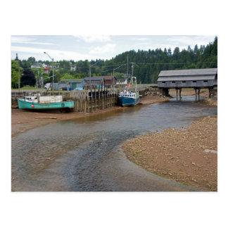 Marea baja en la bahía de Fundy en St Martins, nue Tarjetas Postales