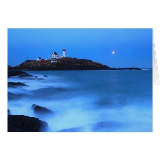 Marea de la Luna Llena del faro de la protuberanci Felicitacion