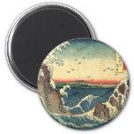 Marea japonesa del océano del vintage elegante imán de nevera