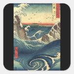Marea japonesa del océano del vintage elegante calcomanía cuadrada