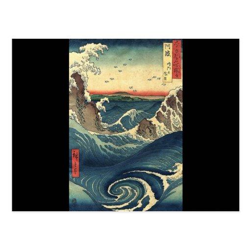 Marea japonesa del océano del vintage elegante tarjetas postales