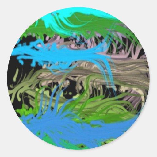 Mares abstractos pegatina redonda