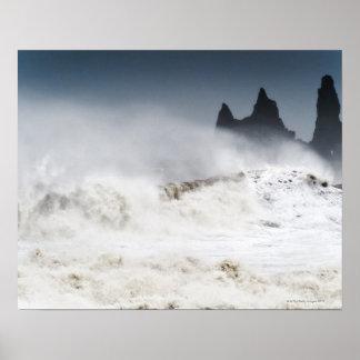 Mares agitados, Vik i Myrdal, Islandia Póster