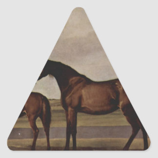 Mares and foals are anxious before a looming storm triangle sticker