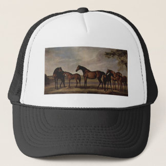 Mares and foals are anxious before a looming storm trucker hat
