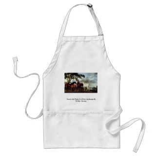 Mares And Foals In A River Landscape Apron