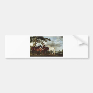 Mares and Foals in a River Landscape George Stubbs Car Bumper Sticker