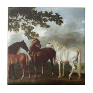 Mares and Foals in a River Landscape George Stubbs Ceramic Tile