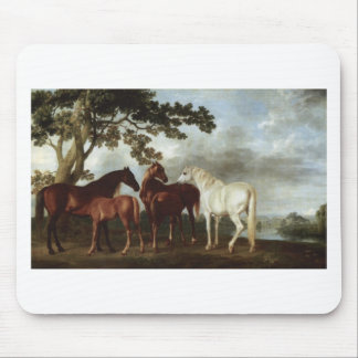 Mares and Foals in a River Landscape George Stubbs Mouse Pad