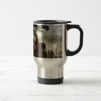 Mares and Foals in a River Landscape George Stubbs Travel Mug