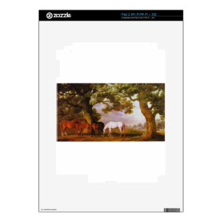 Mares and Foals in a Wooded Landscape by George iPad 2 Decal