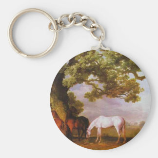 Mares and Foals in a Wooded Landscape by George Keychain