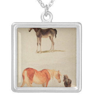 Mares and foals silver plated necklace