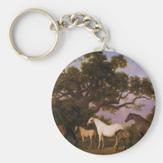 Mares and Foals under an Oak Tree by George Stubbs Keychain