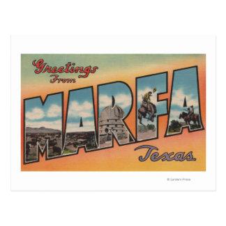 Marfa, letra ScenesMarfa, TX de TexasLarge Postal