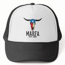 Marfa Texas Bull Longhorn Skull Texan Flag Art Trucker Hat