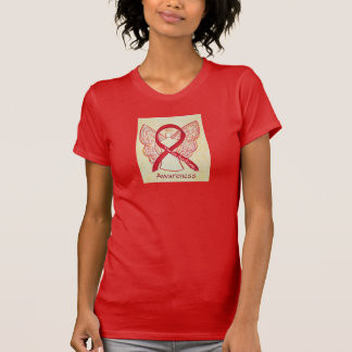 Marfan Syndrome Awareness Red Ribbon Angel Shirt