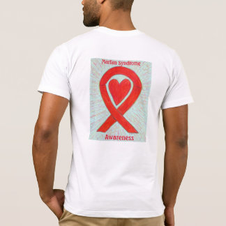 Marfan Syndrome Awareness Red Ribbon Custom Shirts
