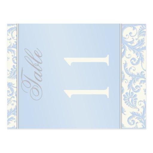 Marfil bilateral y número azul de la tabla del tarjetas postales